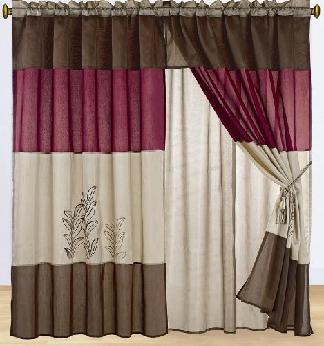 Burgundy Kitchen Curtains: #1 Sale!! Burgundy And Tan Embroidered Curtain Set W