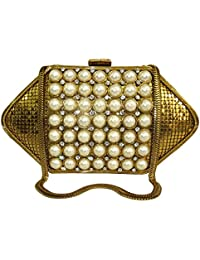 Golden Pearl Beads Studded Metal Clutch Box