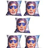 MeSleep Digitally Printed Always Best In Blue Glares 5 Piece Cushion Cover Set - Multicolor