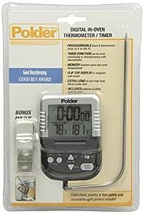 Polder Digital in-Oven Thermometer/Timer, Graphite color
