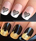 VALENTINES DAY WATER NAIL TRANSFERS DECALS STICKERS ART SET #358. PLUS GOLD LEAF SHEET! x24 BLACK LACE FLOWERS LOVE HEARTS WRAPS & 24KT GOLD! CAN BE USED WITH NATURAL GEL ACRYLIC STICK ON NAILS! OR WITH GLITTER DUST CAVIAR BEADS ALLOYS DECORATIONS CONFET
