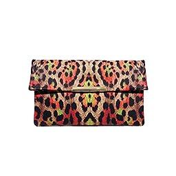 LADODO Leopard Printed Bicast (PU) Leather Folder Clutch Handbags(scarlet)