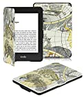 OMOTON Amazon Kindle Paperwhite Case Cover -- The Thinnest and Lightest PU leather Case Cover for Kindle Paperwhite (Both 2012 and 2013 versions with 6 Display and Built-in Light), Grey&Black Map Pattern