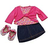 The Springfield Collection by Fibre-Craft Denim Skirt Outfit, Pink Shirt and Polka Dot Shoes