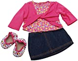 Springfield Collection Denim Skirt Outfit, Pink Shirt and Polka Dot Shoes