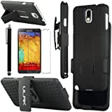 Note 3 Case, Galaxy Note 3 Case - ULAK Rugged Hybrid Hard Case Cover and Belt Clip Holster for Samsung Galaxy Note 3 Note III N9000 with Screen Protector and Stylus (Black)