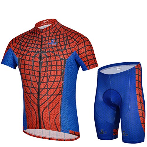 Zorro Mall 2015 Spider Print Cycling Bicycle Bike Anti Friction Outdoor Suits (Jersey + Pants) M Red Blue