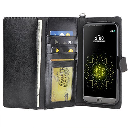05. LG G5 Case, Moze LG G5 Wallet Case [2 Cash Sleeve] [4 Card Slots ] [Wrist Strap] [Stand Feature] PU Leather Flip Wallet Case Cover for LG G5 (Black#)