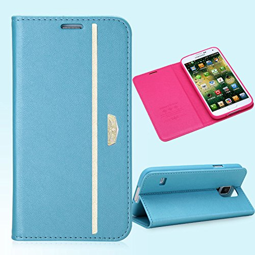 Pioneer Tech® Goatskin Pattern Leather Smart Flip Cover Protective Cases For Samsung Galaxy S5 I9600 -Xd (Blue)