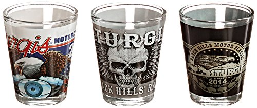 Hot Leathers (SPA5114 MULTI, 1.5 OZ) Sturgis Motorcycle Rally Shot Glass - 1.5 oz. Capacity, (Pack of 3)