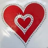 115mm Red Fabric Satin Rhinestone Heart Iron On Cutomize Cloth Fashion DIY Transfer Patch