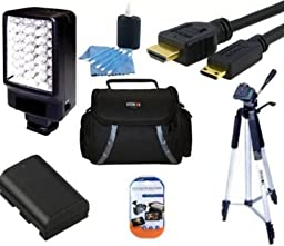 Starters Accessory Kit For Sony HDR-CX190 HDR-CX200 HDR-CX210 HDR-CX330 HDR-CX900 HDR-PJ200 HDR-PJ275 HDR-PJ340 HDR-PJ540 HDR-PJ810 Handycam Camcorder - Includes Replacement NP-FV50 Battery + Video Light + Deluxe Case + 50\