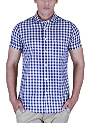 INTEGRITI Men's Casual Shirt (ICON-569. HSNSLF CHKNVYBEG_XL, Blue and White, X-Large)