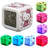Cute Kitty Print 7 Color Changing Glow LED Alarm Clock with Thermometer