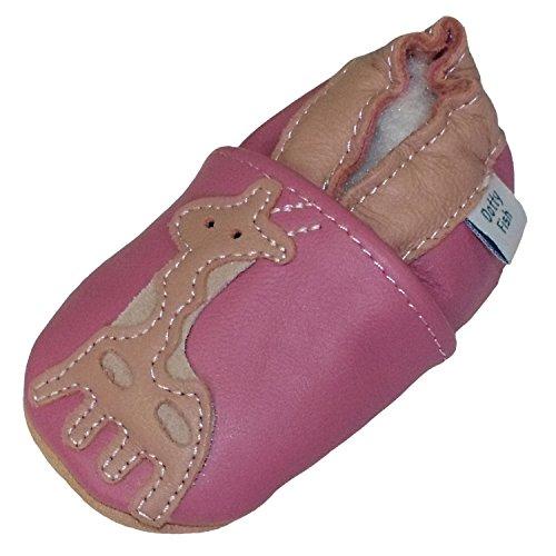 Bimba Bambina morbido pelle scarpe scamosciato - Rosa - design Giraffa - Dotty Fish - ragazza - taglia 12-18 mesi