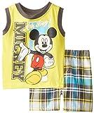 Disney Baby Boys' 2 Piece Mickey Sleeveless Tee with Plaid Short