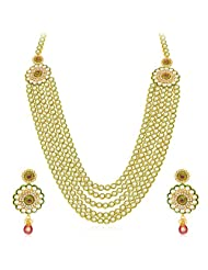 Sukkhi Ethnic Five Strings Gold Plated Kundan Necklace Set For Women