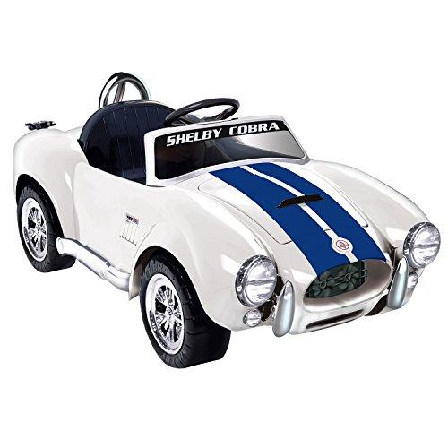 Kid Motorz Shelby Cobra One Seater Ride On, White/Blue Stripes