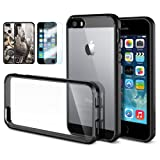 [AIR CUSHION] Spigen Apple iPhone 5S / 5 Case **New Release** ULTRA HYBRID [Black] Bumper Case with Air Cushion Technology Corners + [1 FREE Screen Protector & 2 FREE Design Graphics] for iPhone 5S / 5 - ECO-Friendly Package - Black (SGP10515)