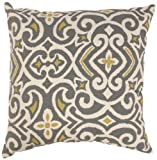 Pillow Perfect Gray/Greenish-Yellow Damask 18-Inch Throw Pillow