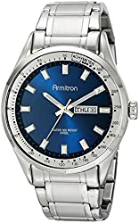Armitron Men's 20/5054NVSV Day/Date Function Dial Silver-Tone Bracelet Watch