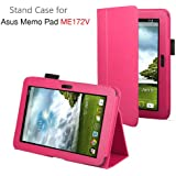 Exact PU Leather Case Cover With Stand for ASUS MeMO Pad ME172V 7-Inch Android Tablet Hot Pink