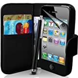 Apple iPhone 4 / 4S Black Wallet Case Cover Includes Screen Protector,...