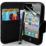 Apple iPhone 4s und 4 Buch-Stil Imitat Ledertasche in Schwarz, Eingabestift, Displayschutzfolie, Reinigungstuch