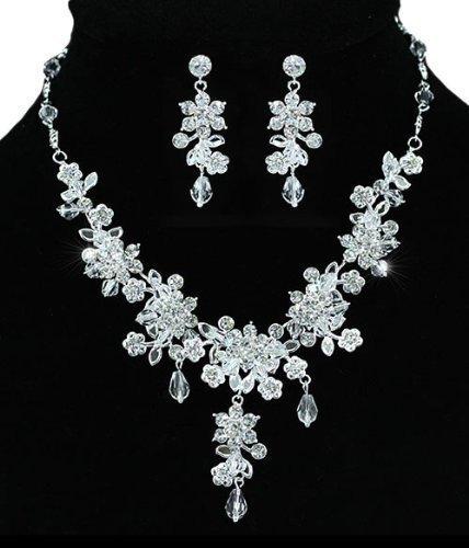 Wedding Bridal Petal Leaf Floral Crystal Handmade Silver Necklace Earrings Jewellery Set with PreciousBags Dust Bag