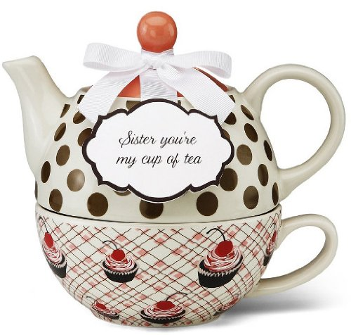Pavilion Gift 49009 You And Me Tea For One Teapot Set By Jessie Steele, 6-Inch