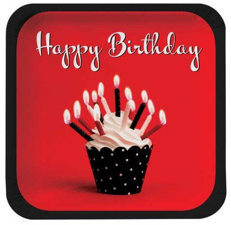 Creative Converting Cupcake Blowout Happy Birthday Square Dinner Plates, 8-Count