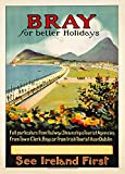 Vintage Travel IRELAND for BRAY IN COUNTY WICKLOW FOR BETTER HOLIDAYS 250gsm ART CARD Gloss A3 Reproduction Poster