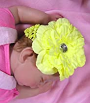 Yellow Camellia Flower on Yellow Headband - Girls Flower Headband - Baby Headband with Flower