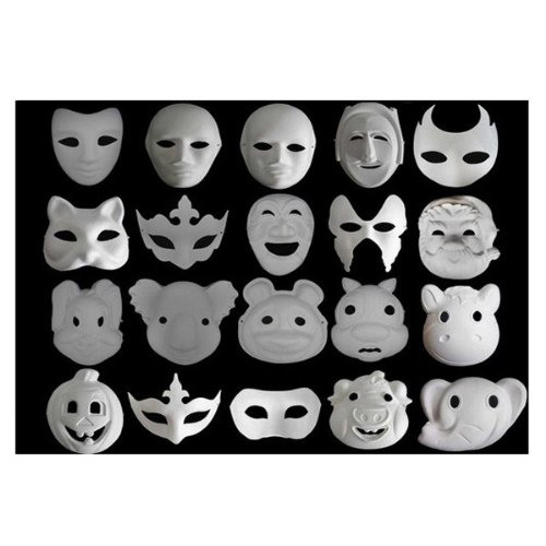 Unpainted Plain Blank Version Paper Pulp Mask SNA006c90 (Blank Mask Paper compare prices)
