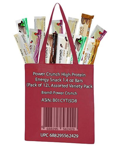 Power Crunch High Protein Energy Snack, Assorted, 1.4 Ounce Bars (Pack of 12), Tote Included (Power Crunch Energy Bars compare prices)