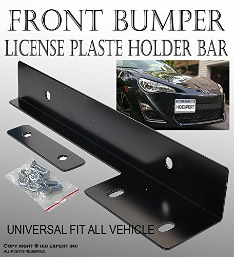 JDM Black Aluminum Bumper Front License Plate Mount Relocate Bracket R#34 (Chrysler Sebring 2009 Bumper compare prices)