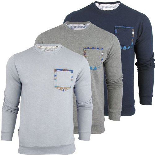 Mens D Code 'Luke' Jumper/ SweatShirt Aztec Patches(Small|Mid Grey Marl)
