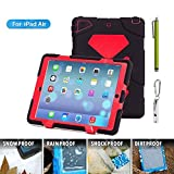 Aceguarder New Design Ipad Air 5 Waterproof Shockproof Snowproof Dirtproof Super Protection Cover Case with Stand for Kids Outdoor Sports Travel Adventure Gifts Carabiner+whistle+capacitor Pen Handwriting (Aceguarder Brand) (Black-red)