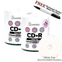 Smartbuy 200-disc 700mb/80min 52x CD-R White Top Blank Media Record Disc + Black Permanent Marker