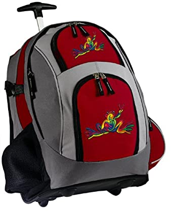 Peace Frog Rolling Backpack Deluxe Red Super Cool Backpacks Bags with Wheels or by Broad Bay