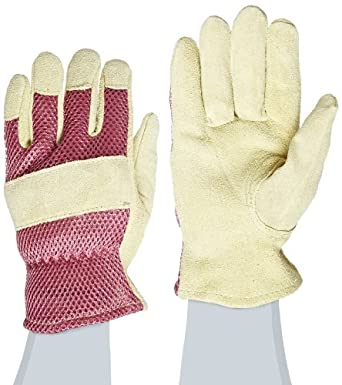 "West Chester 23025 Split Cowhide Leather Palm Driver Glove with Polyester Mesh Back, Work, Shirred Elastic Wrist Cuff, 8-3/8"" Length, Women's (Pack of 1 Pair)"