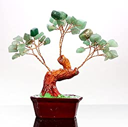 ToJoy Chinese Feng Shui Lucky Crystal Gem Stone Money Tree (Green)