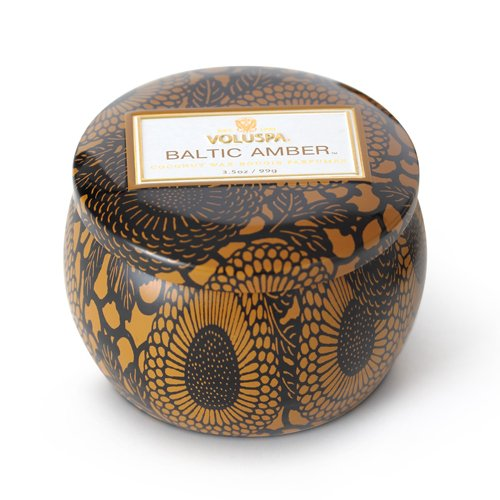 Voluspa Decorative Tin Candle, Baltic Amber, 3.5 oz