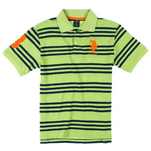 U.S. Polo Assn. Boys 8-20 Striped Short Sleeve Polo Shirt 10/12 Navy & Light Green front-984429