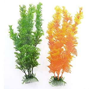 Fishtank Decorated Emulational Underwater Plants Orange Green Pair