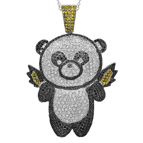 10K White Gold Mens Diamond Custom Teddy Bear