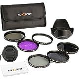 K&F Concept 62MM Lens Filter Kit Slim UV Slim CPL Slim FLD ND2 ND4 ND8 ND Neutral Density Circular Polarizing Set For Tamron 18-250mm 28-105mm 70-300mm 18-270mm 28-300mm 28-200mm DSLR Camera Lens + Lens Hood + Lens Cap + Cleaning Cloth+Filter Bag