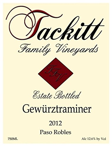 2013 Tackitt Family Vineyards Estate Paso Robles Gewurztraminer 750 Ml