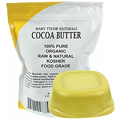 Organic Cocoa Butter Food Grade & Edible 1 lb (16 oz) Non-Deodorized Pure Raw, Rich In Antioxidants. Great For Chocolates, DIY Recipes, Lip Balms Lotions Creams & Stretch Marks By Mary Tylor Naturals