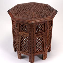 Hand Carved Octagonal Wood Table